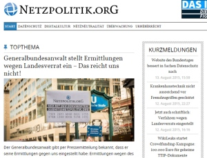 Netzpolitik.org, 13 augustus 2015